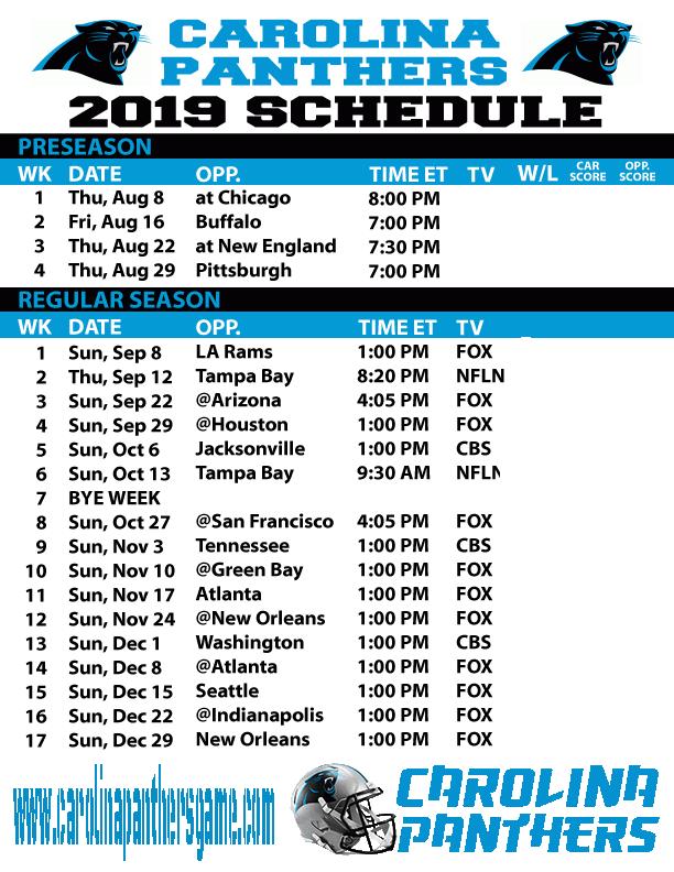 Image result for Carolina Panthers 2019 live schedule